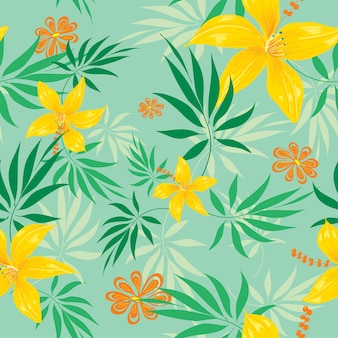 Flower seamless pattern green blackground
