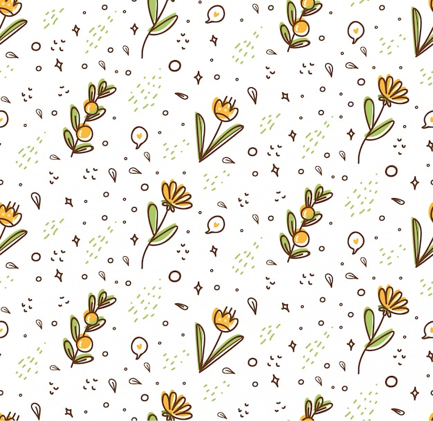 Flower seamless pattern in kawaii doodle style