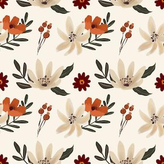 白いユリと赤いアネモネの花のシームレスなパターン