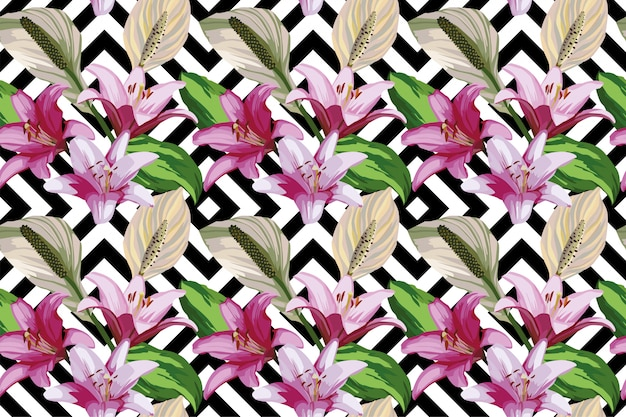 Flower seamless pattern wallpaper