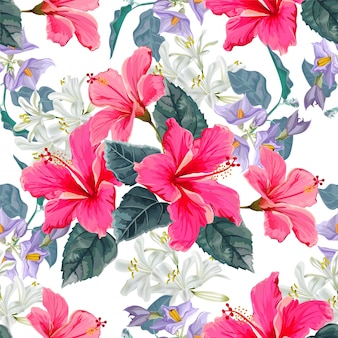 Flower seamless pattern with hibiscus flower