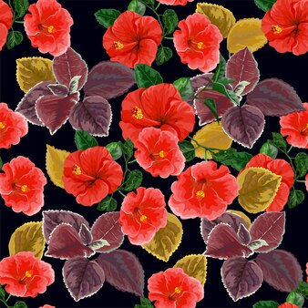 Flower seamless pattern with hibiscus-vector illustration