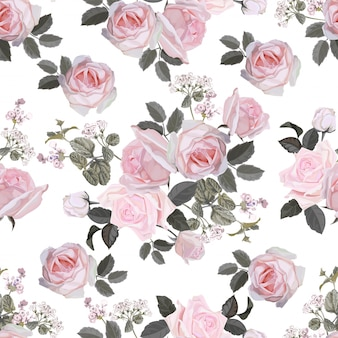 Flower seamless pattern with pink rose vector illustration