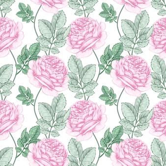 장미와 꽃 원활한 패턴입니다.