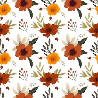 白いユリと赤茶色のアネモネと花のシームレスなパターン