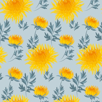 Flower seamless pattern yellow chrysanthemum repeatable motif.