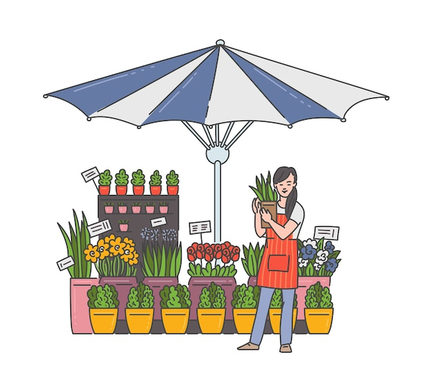 Flower seller woman in outdoor market shop holding house plant in pot - floral stand stall under striped umbrella with cartoon girl selling flowers.