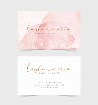 Цветочные формы на розовом всплеске визитной карточки