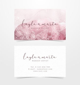 Flower shapes on splash background of business card