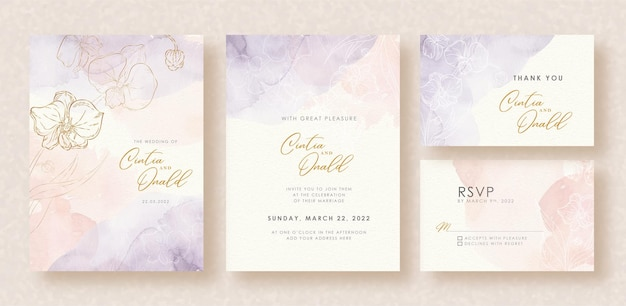 Flower shapes splash watercolor background on wedding invitation