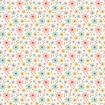 花のシート花の手描きの休日の漫画のシームレスなパターン