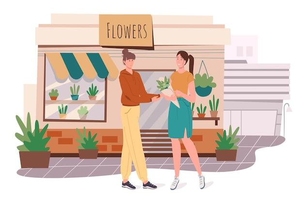 フラワーショップビルのウェブコンセプト。女性は店で花を買います。花屋は花の花束を作り、クライアントに販売します