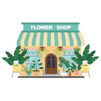 植物と花を販売するフラワーショップの建物。図。