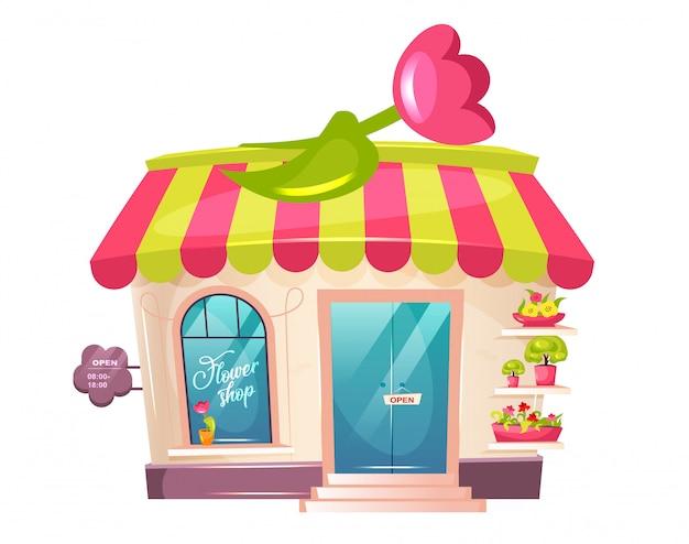 Иллюстрация шаржа цветочного магазина внешняя. флорист размещает витрину плоского цветного объекта. симпатичное здание с тентом и тюльпаном. горшечные растения od дисплей. цветочный магазин на белом фоне