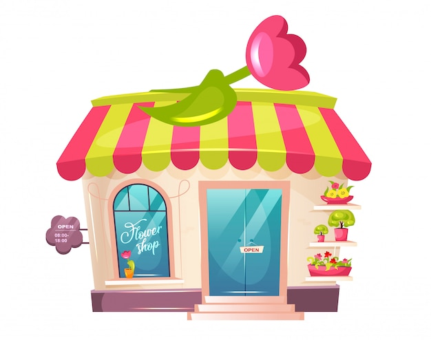 Flower shop exterior cartoon illustration. florist place shopfront flat color object. cute building with awning and tulip. potted plant od display. floral store isolated on white background