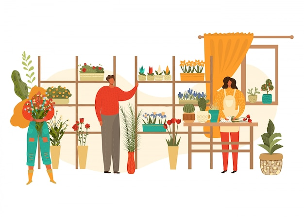 Flower shop florist female character with houseplants and potted flowers and customer woman with bouquet flat   illustration.