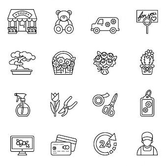 Flower shop icons set