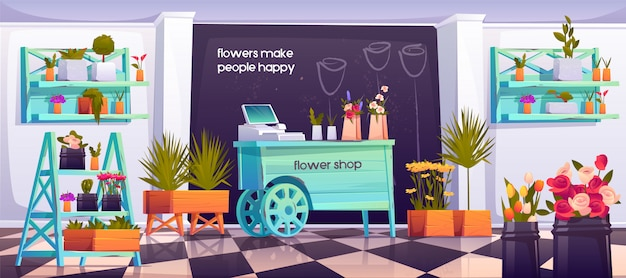 Flower shop interior, empty floristic store design