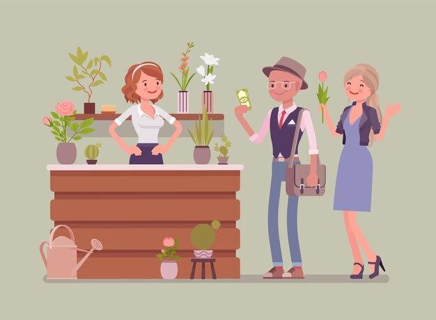 Цветочный магазин леди продает аранжировки срезанных цветов для клиентов