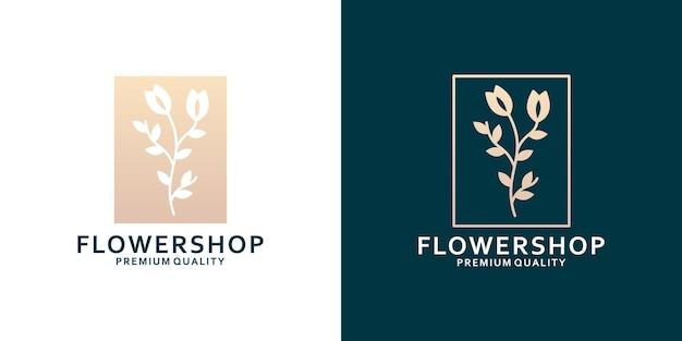 Плоский дизайн логотипа цветочного магазина и линейный набор для флориста
