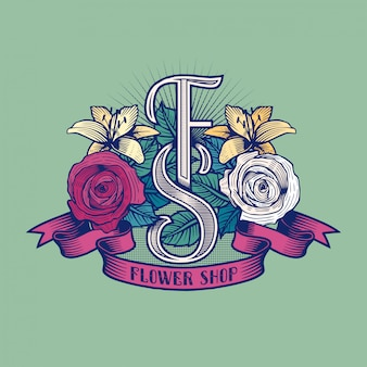 Flower shop logo. florist sign template