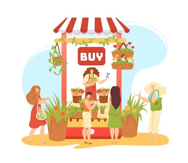 Цветочный магазин онлайн бизнес изолированных иллюстрация