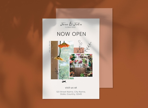 Modello di poster del negozio di fiori