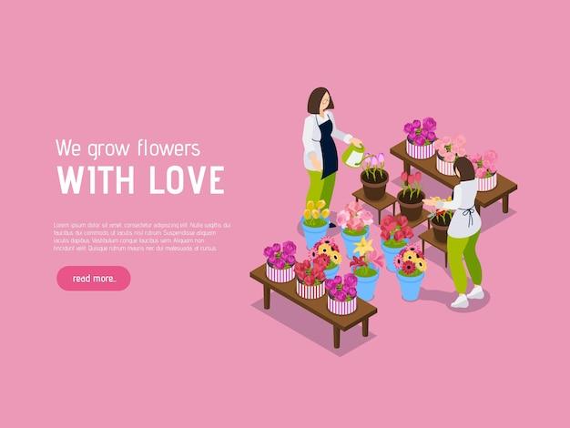 아이소 메트릭 디자인으로 꽃 가게 장미 방문 페이지