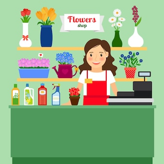 Flower shop vector illustration with sales lady cash register machine and different flowers in pots