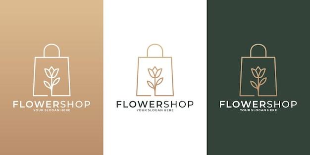 あなたのビジネスのための黄金色のロゴデザインテンプレートを持つフラワーショップ