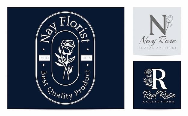 花屋のロゴのテンプレートに花のシルエット