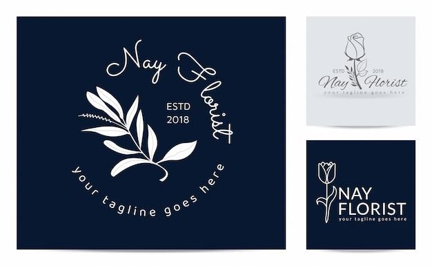 Цветочный силуэт на шаблоне логотипа флориста