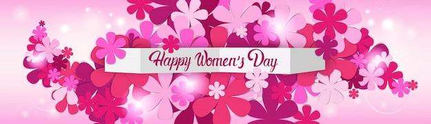 Flower silhouettes international women day banner