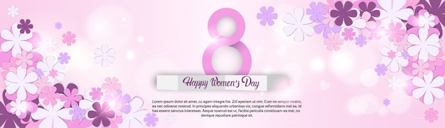Flower silhouettes women's day banner template