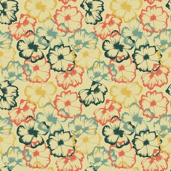 Flower sketch abstract colorful vintage pattern
