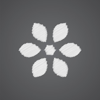 暗い背景に分離された花スケッチロゴ落書きアイコン