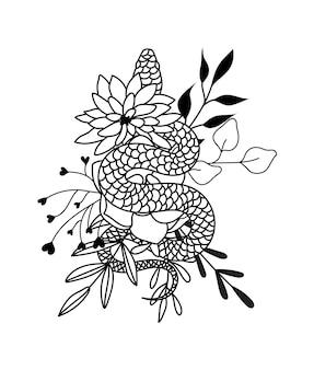 꽃 뱀 야생화 뱀 그림