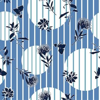 Flower on stripe polkadot seamless pattern