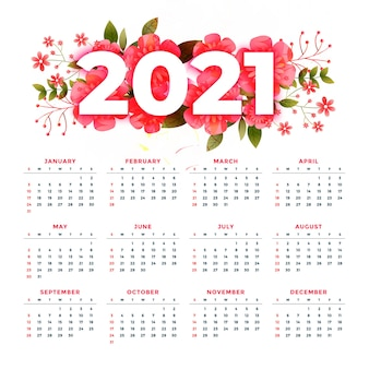 Flower style 2021 modern calendar stylish design template