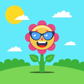 Flower sunbathes in a clearing. a joyful plant in glasses. flat illustration.