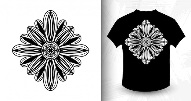 Flower.  t-shirt print in vintage monochrome style.