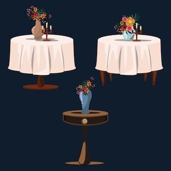 Flower on tables set vector illustration