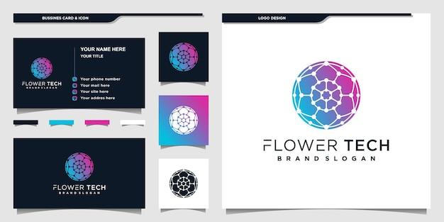 Дизайн логотипа flower tech в современных градиентных тонах premium vektor