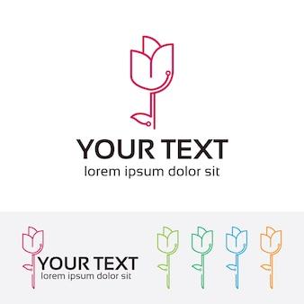 Flower technology vector logo template