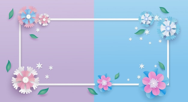 Flower template and frame in paper cut concept.