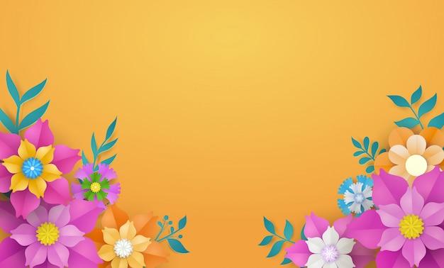 Цветочный шаблон в концепции бумаги вырезать.