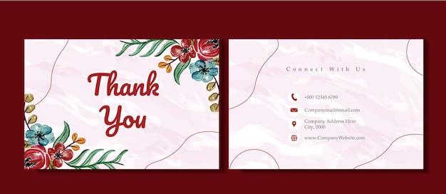 꽃 감사 카드 비즈니스 템플릿 수채화 꽃