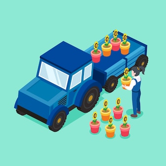 Flower transportation concept in   isometric graphic