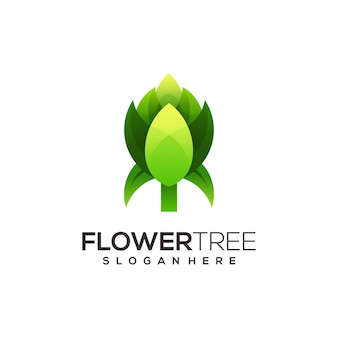 Flower tree retro logo template