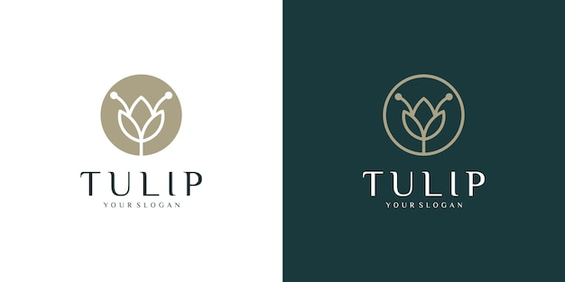 Flower tulip logo line art style and business card